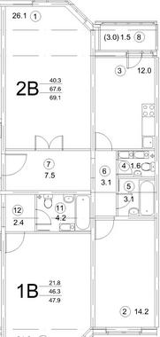 Планировка Двухкомнатная квартира площадью 68.1 кв.м в ЖК «Новая Каменка»